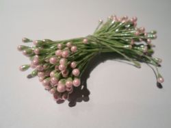 100 x wired Flower stamens, Green stem & Baby light pink head, Double headed, Perfect for sugarcraft, crafts